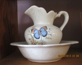 butterfly pitcher and dish