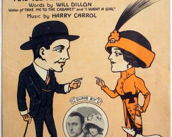 """Antique 1912 Vintage Sheet Music """"You Keep Your Eye On Me and I'll Keep My Eye On You"""""""
