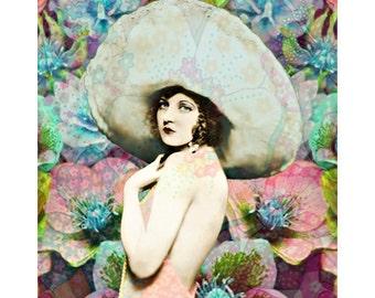 1920 s fashion goddess, digital print, photomontage, digital art, vintage flapper, Vogue vintage, fine art print, home decor, wall art, Dior