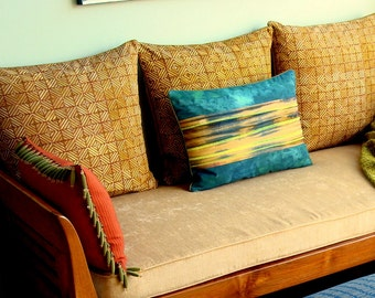 Vintage Olive/Brick Hand Printed Batik Pillows with Cording