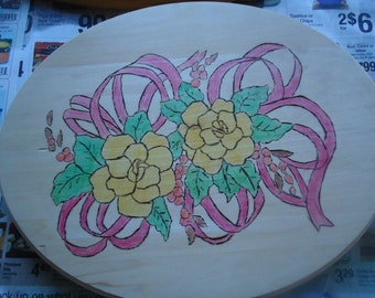 flower and ribbon wood burning