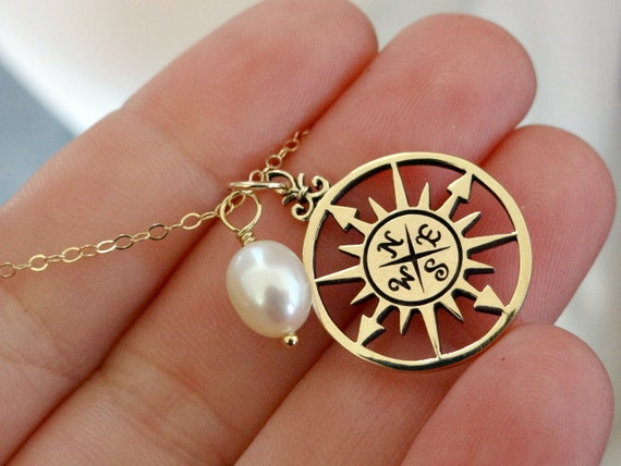 Items Similar To Rose Compass Necklace Gold Filled