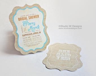 Burlap Bridal Shower Invitation