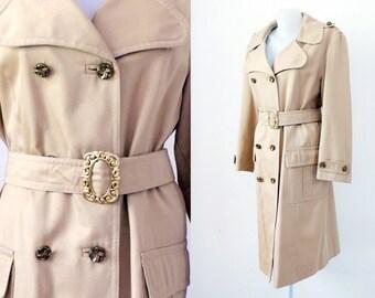 Vintage Beige Trench  golden buckles Sixties  1960s retro Jacket Coat hip  Aorenumnt buttons belt