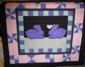 Easter Bunny Spring Heart Quilted Home Made Wall Hanging Sale Reduced Price