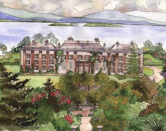 Ireland Watercolor - Bantry House - Fine Art Print  - Bantry House Estate - County Cork Ireland Gardens Flowers Irish Landscape