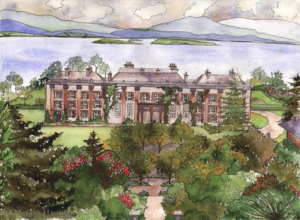 Ireland watercolor bantry house fine art print bantry for Bantry house