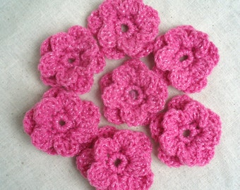 Seven Crocheted Flowers In Pink w/ Sparkle