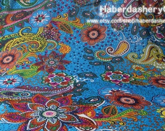 1 Meter Chiffon Fabric CH120 - Wonderful Paisley in Turquoise