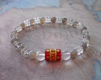 Carved ( om ) red quartz & smokey quartz bracelet