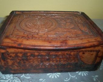 Vintage Hand tooled Leather Box