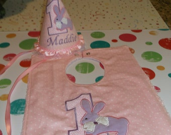 Girls 1st Birthday Party Hat And Bib - Darling pink And Lavender Bib And Hat