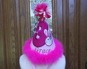 Girls First Birthday Party Hat - Bunny Birthday  - Free Personalization