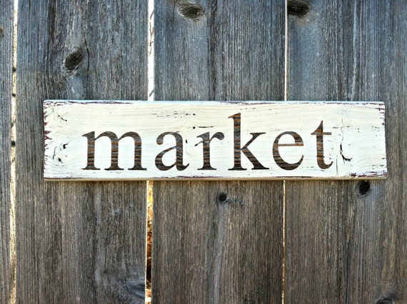 Made to order vintage style market wooden sign handmade for Decor market reviews