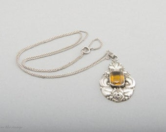 Art Nouveau Necklace Pendant Silver Synthetic Stone 20s-30s Fine Jewelry