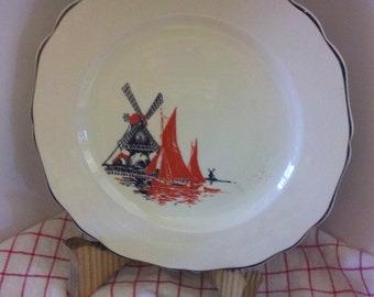 1936 Crown Ovenware Pie Plate with Windmill and Sailboat