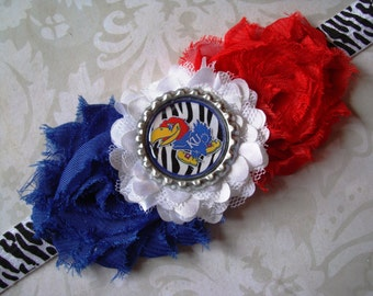 Kansas University KU Jayhawk Headband - Zebra print elastic with Shabby Flowers and KU Jayhawk Bottlecap