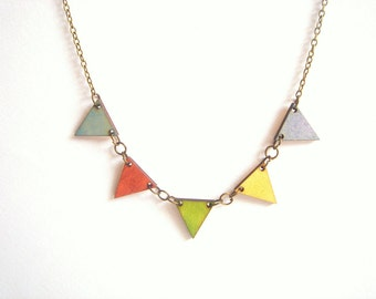 Pastel Bunting Necklace, Wood Triangles Necklace,Bunting Necklace,Geometric Jewelry