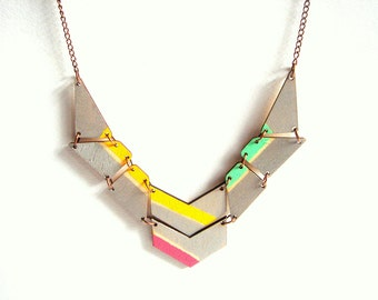 Geometric Necklace, Silver & Neon Necklace, Wood Triangles Bib,