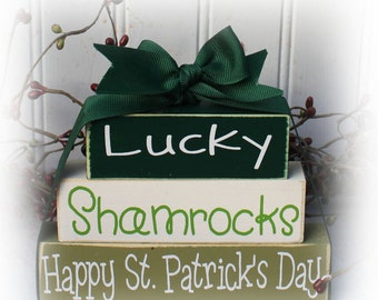 Lucky Itty Bitty Wood Stacker Blocks for St. Patrick's Day