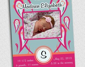Paisley Birth Announcement - Custom - Original Design