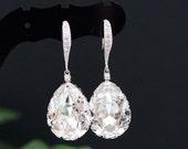 SET of 5 Wedding Jewelry Bridal Earrings Bridesmaid Earrings Dangle Earrings Clear White Swarovski Crystal Tear drop Earrings