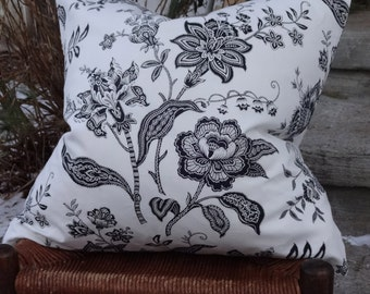 20x20 White Cotton Duralee Black Print Pillow Cover