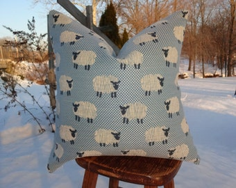 Baby Blue and Off White Basket weave Chenille Sheep Pillow Cover or fabric by the yard