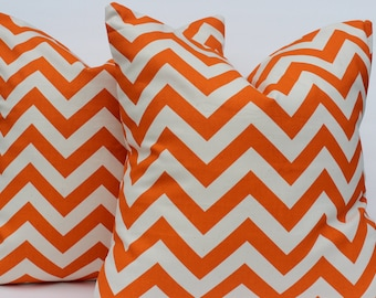 Orange Chevron Pillow 16 x 16, 18 x 18, 12 x 16 Decorator Pillow Cover Premier Prints ZigZag