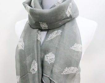 Gray Owl Scarf, Gray and White Little Owl Print Scarf, Scarf Accessories, Scarf Grey, Scarf For Women, Scarf Gift, Scarf Owl, For Her, Moms