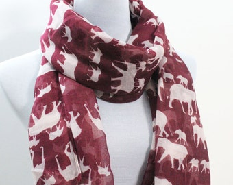 Red Elephant Scarf Light Brown Scarf with White Elephant Scarf