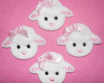 Spring Lamb - Embroidered Felt Appliques - Set of 4