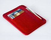 small wallet / card holder - mature red genuine leather