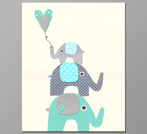 Italian Boy Name: Teal Elephant Nursery Art Print 8x10 Baby Boy Room Kids