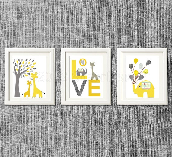 Yellow and grey animals nursery art print set kids by for Room decor etsy