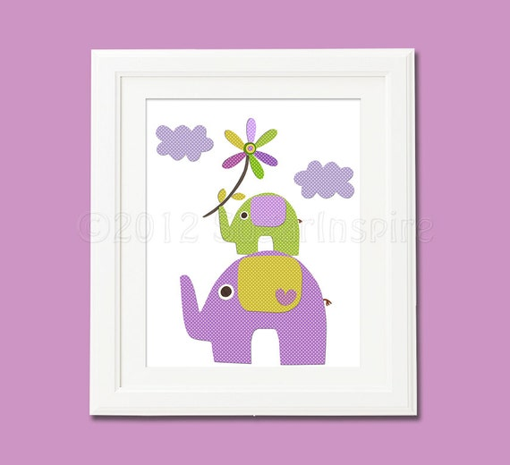 Purple And Green Elephant Nursery Art Print 8x10 Baby Girl