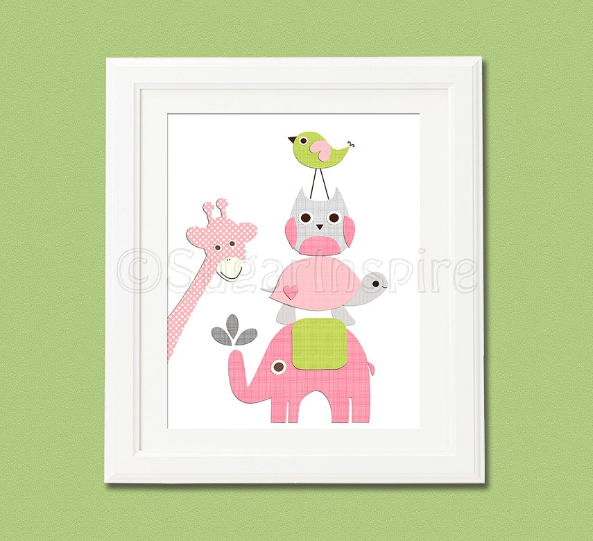 pink and green nursery wall art nursery art print by sugarinspire. Black Bedroom Furniture Sets. Home Design Ideas