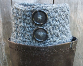 Womens Boot Socks - Grey Boot Cuffs With Buttons