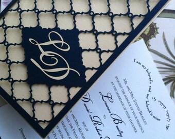 Laser Cut Wedding Invitation, Monogram Mesh Gate, Custom Personalized