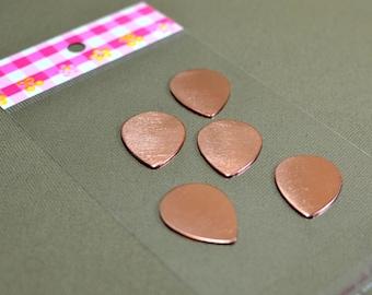 Copper teardrop guitar pick blanks 17 gauge Qty 5