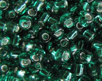 6/0  Jade Green Seed Beads, Silver Lined Jade Green Seed Beads,  15 grams Seed Beads,  Japanese  Glass Seed Beads #5716, Item #196