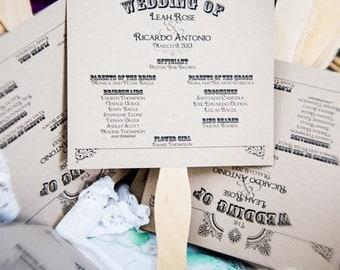 Custom Wedding Program Fan Square Wedding Program Fan 2 Sheets