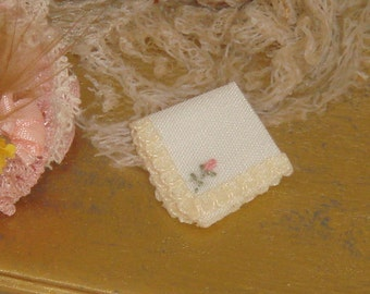 Dollhouse miniature hand embroidered hanky.