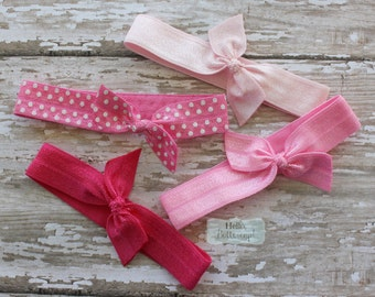 4 No Tug Elastic Hair Ties - Shades of Pink and Polka Dot Ponytail Holders - Hairties