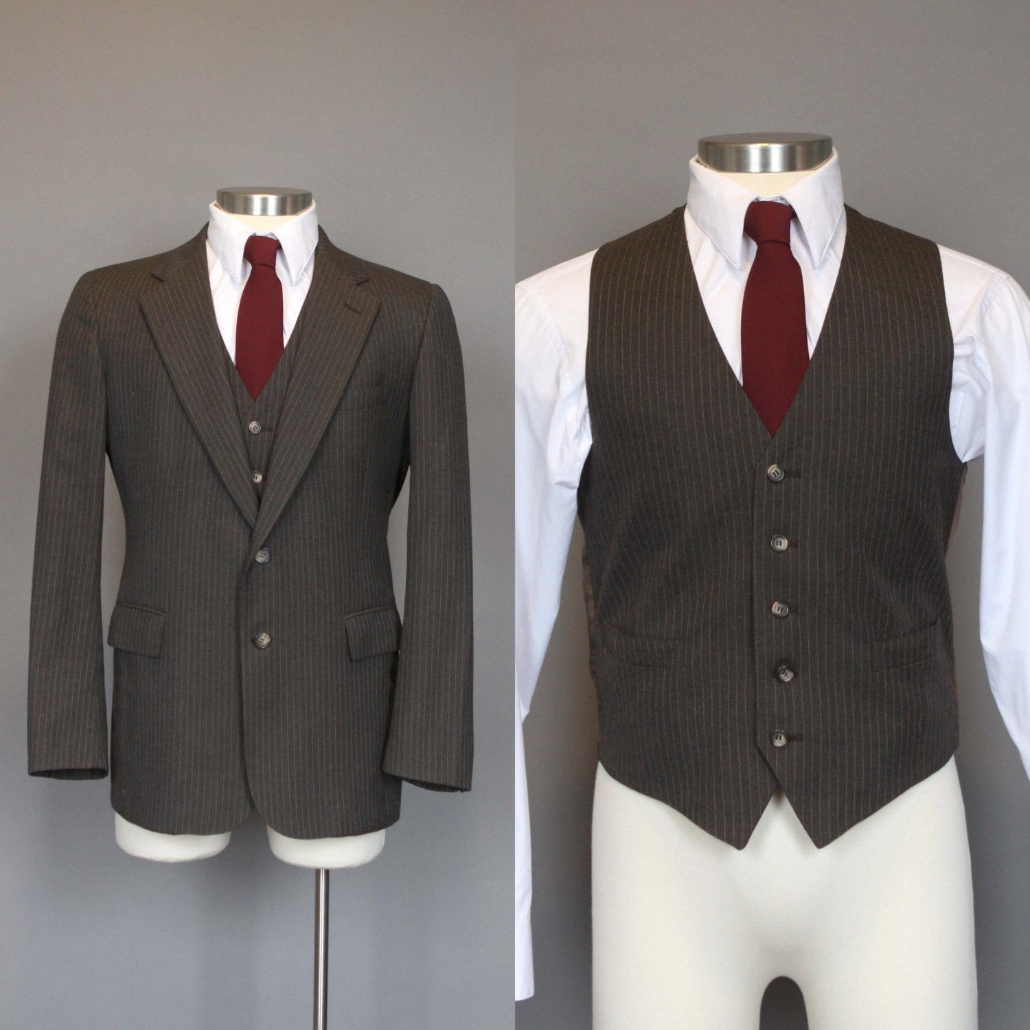 Vintage Jacket Vest Mens Fitted Sport Coat and Vest 70s 1970s