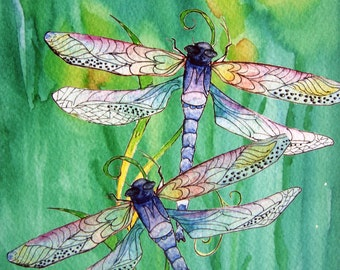 Dragonfly and Daffodils Watercolor Painting