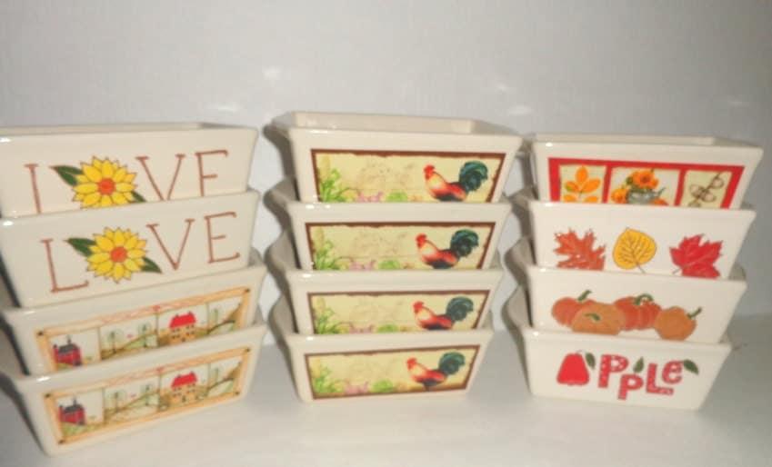 Ceramic Mini Loaf Pan Individual Baking Dishes Set Of 12 Fall