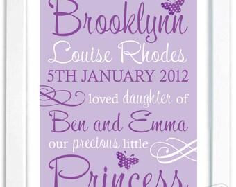 Custom Printable Birth Art Baby Name, Birth Announcement,  Shower Gift, Purple Flowers Butterflies  Baby Child