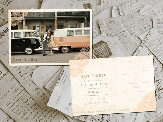 """SALE 20% OFF Wedding Save The Date Cards - LoopTheGarden Vintage Lace Photo Personalized 4""""x6"""" coupon code: STD20"""