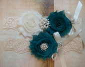 Wedding Garter, Bridal Garter, Garter - Ivory/Teal Flowers on a Vintage Ivory Lace with Pearls & Crystal Rhinestone - Style G2043